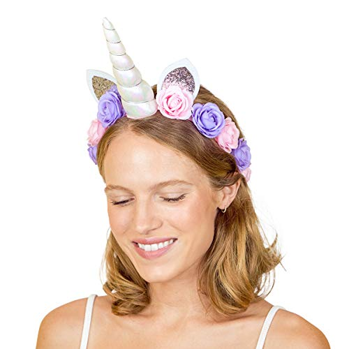 xo, Fetti Unicorn Horn Flower Crown Headband - Child + Adult | Halloween, Unicorn Party Supplies + Unicorn Present Girl]()