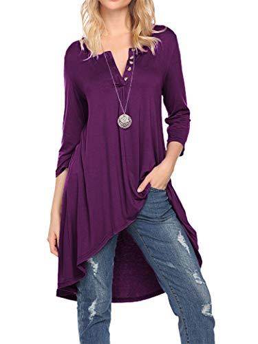 (Naggoo Women's Half Sleeve High Low Loose Fit Casual Tunic Tops Tee Shirt Dress (XL, Deep Purple))