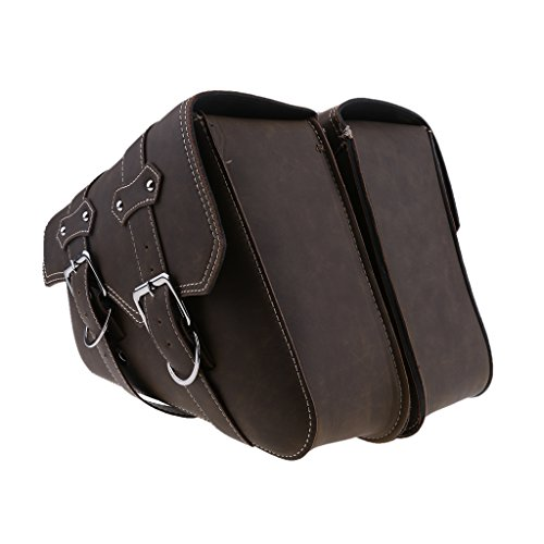 Homyl 2pcs Waterproof Motorcycle Leather Saddle Bag Storage Pouch Left&Right Trim - Retro Brown Double Buckles