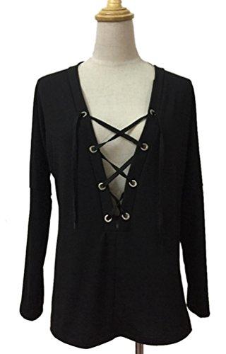 YiLianDa Mujeres de Camisas Cuello en V Mujeres Casual manga larga Blusa Camiseta Negro