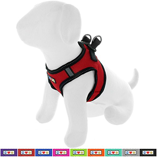 Pawtitas Pet Reflective Mesh Dog Harness, Step in or Vest Harness, Comfort Control, Training Walking of Your Puppy/Dog S Small Red Dog Harness