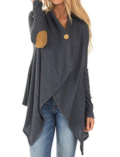 Nlife Women Casual Asymmetric Hem Blouse Long Sleeve Elbow Patch Cardigan Shawl Outerwear