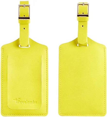 Yellow Rose Travel Luggage Tags With Full Privacy Cover Leather Case And Stainless Steel Loop