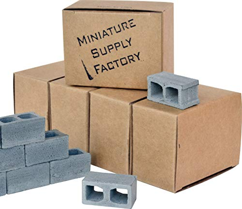 60 Mini Cinder Block, 1/12 Scale Miniature Blocks, Diorama Supplies, Desk Accessories, Birthday Gifts for - Block Cinder Miniature