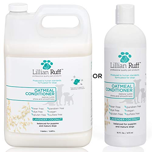Lillian Ruff Dog Oatmeal Conditioner - Safe for Cats - Lavender Coconut Scent for Itchy Dry Skin with Aloe - Soothe Skin Irritation and Relieve ()