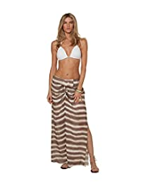 Vix Cleo Brown Striped Ruffle Maxi Skirt Cover-up