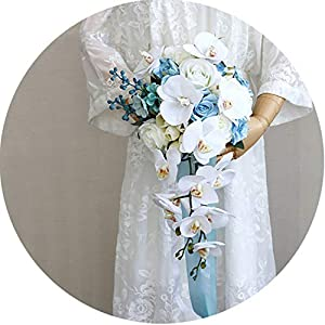 Blue White Vintage Artificial Flowers Waterfall Wedding Bouquets Phalaenopsis Bouquets Brides Bouquet 41