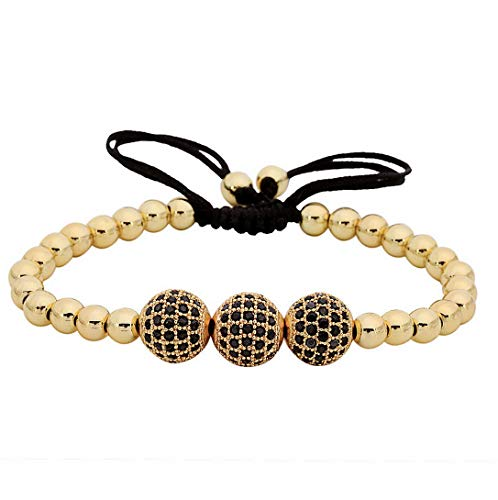 Hebel Luxury Men 24K Gold Plated Beads Micro Pave 3 Ball Black CZ Ball Bead Bracelet | Model BRCLT - 32607 |