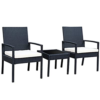 Tangkula AM0583HM 3 Piece Patio Furniture Set with 2 Cushioned Chairs & End Table, Black - Sturdy & Durable The 3 pcs conversation set is made of Steel frame and PE wicker. Pea wicker is more resistant to sun, rain, heat, better than traditional wicker material. Modern & compact the outdoor furniture includes 2 Armrest chairs and 1 Coffee Table. The wicker set is modern look and space saving. Compact design is perfect for a small deck, patio, balconies, terrace, apartment, breakfast nooks or pool side. Comfortable & easy to Clean The 3 pcs Wicker set comes with soft sponge cushion it will bring you and your guest relax and comfort. And it is very easy to take the sponge Out from the zippered cushions. Coffee Table comes with tempered glass, if you put any tee or coffee on it, wipe it and clean again. - patio-furniture, patio, conversation-sets - 4170KgF0CaL. SS400  -