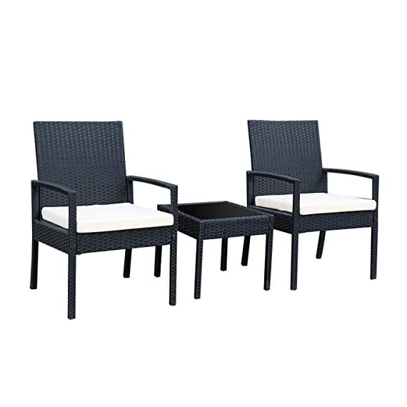 Tangkula AM0583HM 3 Piece Patio Furniture Set with 2 Cushioned Chairs & End Table, Black - Sturdy & Durable The 3 pcs conversation set is made of Steel frame and PE wicker. Pea wicker is more resistant to sun, rain, heat, better than traditional wicker material. Modern & compact the outdoor furniture includes 2 Armrest chairs and 1 Coffee Table. The wicker set is modern look and space saving. Compact design is perfect for a small deck, patio, balconies, terrace, apartment, breakfast nooks or pool side. Comfortable & easy to Clean The 3 pcs Wicker set comes with soft sponge cushion it will bring you and your guest relax and comfort. And it is very easy to take the sponge Out from the zippered cushions. Coffee Table comes with tempered glass, if you put any tee or coffee on it, wipe it and clean again. - patio-furniture, patio, conversation-sets - 4170KgF0CaL. SS570  -