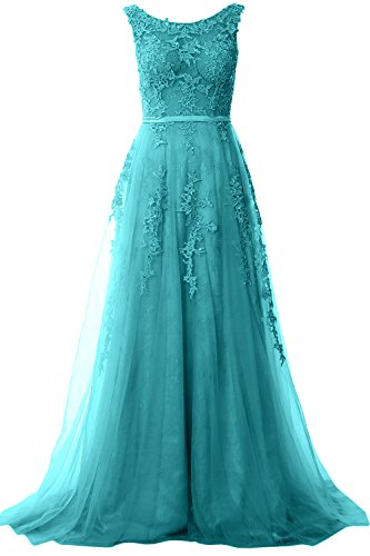 Gown Prom Party Neck Lace Boat Long Wedding Formal Elegant Dress MACloth Vintage Turquoise nOqpPTX