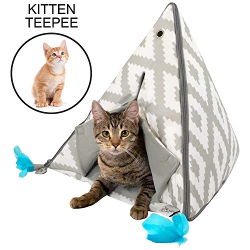 Kitty City Small Teepee and Feather Toy, Kitty Camp Cat Tent, Cat Bed, Pet Cave Bed