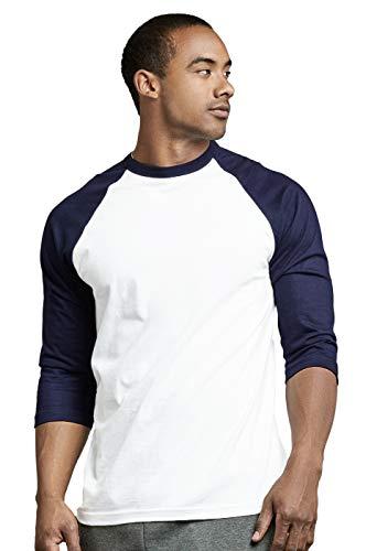 (TOP PRO Men's 3/4 Sleeve Casual Raglan Jersey Baseball Tee Shirt (S, NVY/WHT))