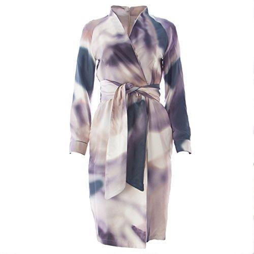 Max Mara Silk (Max Mara Women's Stresa Silk Watercolor Dress SZ 12 Light Grey)