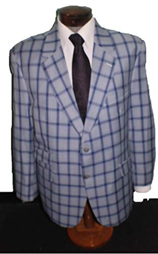 (Mario Zegna Light Blue Window Pane Male 53 Portly Big & Tall 2 Button Single Breasted Elegant Jacket)