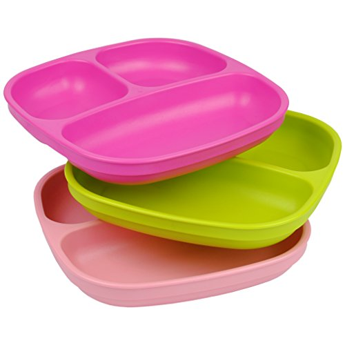 UPC 098601808323, Re-Play Made In USA 3pk Divided Plates with Deep Sides for Easy Baby, Toddler - Bright Pink, Green & Light Pink (Tulip)