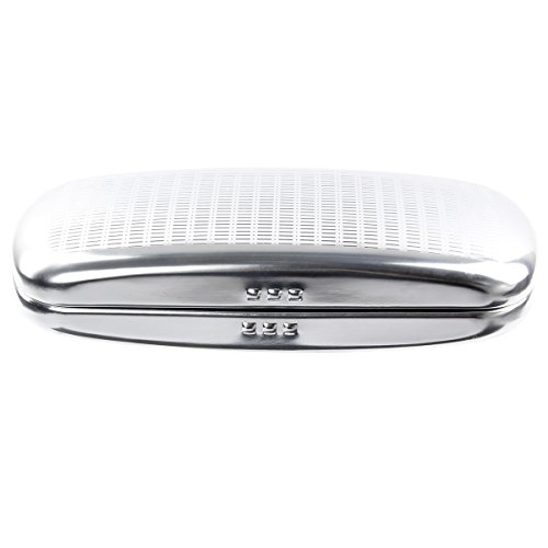 Glasses Case, EZESO Aluminum Hard Shell Eyeglasses Case Striped Blue Spectacles Box For Men Women (silver) by Ezeso