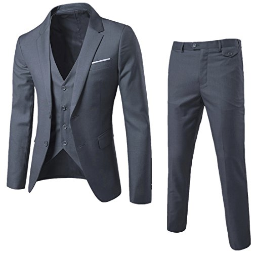 YIMANIE Mens Suit 3 Piece Single Breasted Jacket Two Button Slim Fit Blazer Tux Vest&Trousers, Grey, Small