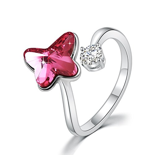SUE'S SECRET Swarovski Element Ring Peach Red Butterfly Stone Rings with Swarovski Crystal, Ajustable Girls Rings, Birthstone Rings for Woman Girls