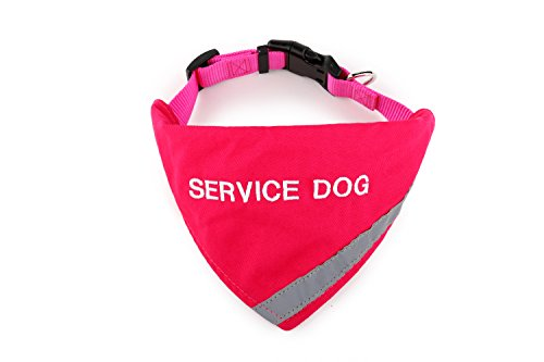 Bandana Embroidered with Service Dog | Reflective Strip for pet Safety | Built in Matching Collar to Keep Bandana Secure | Metal Ring to Attach Leash | Four Colors (X-Small to Large)