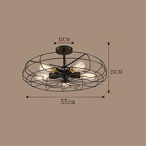 TOYM US American Village Industrial Wind Black Paint Iron Ceiling Mounts Creative Creative Retro Fan Aisle Ceiling Lamps ( Color : Large ) by Ceiling Light (Image #3)