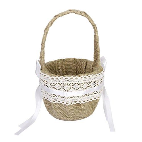 Eamall Wedding Flower Girl Basket with Vintage Retro Lace Bow Decor (wedding basket 1)