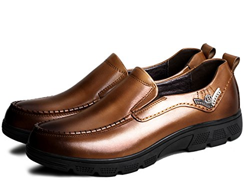 Liveinu On Moccasins Men's Shoes Slip Brown Loafers Casual Leather Boat rArHq4