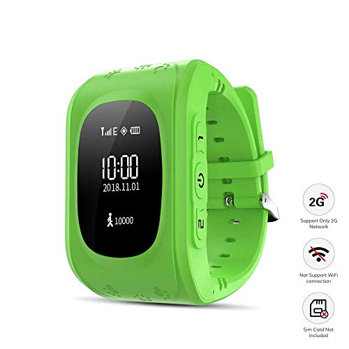 homectrl Kid Smart Watch, Wonbo Soft Silicone GPS Tracker with SIM Slot SOS Call Real-time Location Finder Anti-Lost Alarm Remote GPS & LBS Monitor Watch Remove Alert for Boys Girls Support (Green)