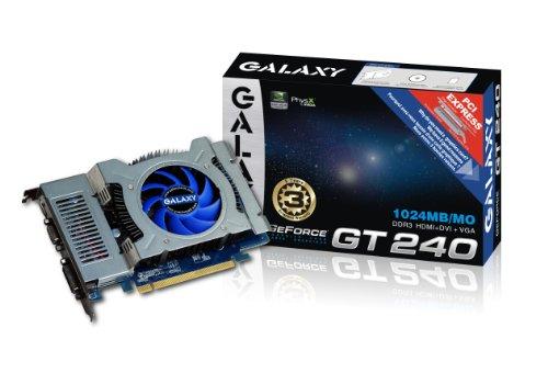 Galaxy GeForce GT 240 1 GB GDDR3 PCI Express 2.0 DVI/HDMI/VGA Graphics Card, 24GGS8HX2PUX 550 Mhz Core Clock