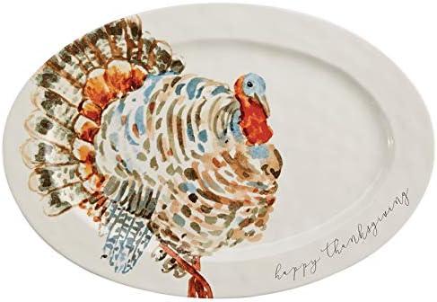 Amazon Com Mud Pie Watercolor Turkey Platter White 14 X 20 1 2 Home Kitchen