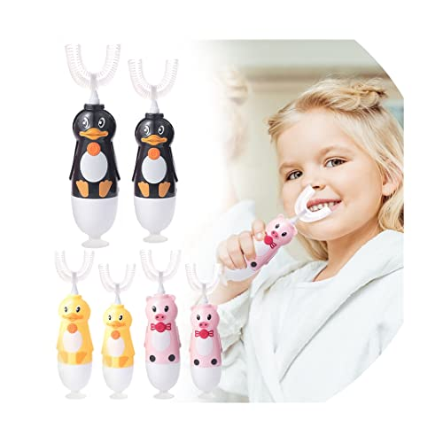 Kids U-Shaped Electric Toothbrush by AKwell, Automatic Massage Toothbrush with U-Type, Cartoon Modeling Toothbrush with Non-Slip Suction Design, Battery Operated, for 2-12Years (Duck(2-5))