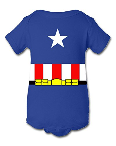 Tee Tee Monster Baby Captain America Inspired Onesie 12 Month Blue (18 months)