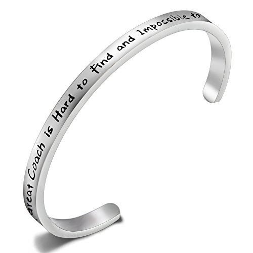 FEELMEM Cheerleader Bracelet Lead Inspire Coach Cuff Bangle Bracelet,Cheer Jewelry,Perfect Gift For Cheerleader (A great coach)