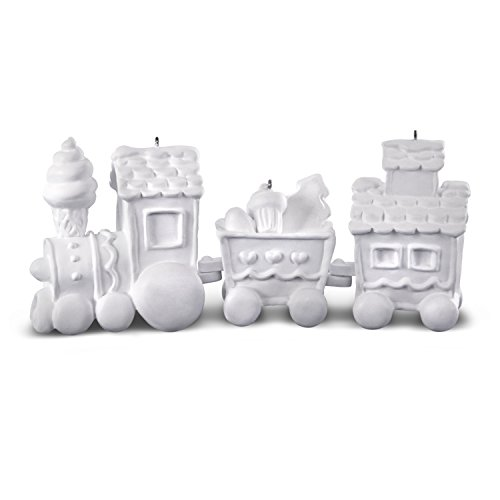 Hallmark Keepsake Christmas Ornament DIY Craft Paint Kit 2018 Year Dated, Make-Your-Own Train, 3 Pieces Unfinished -