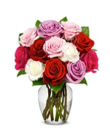 From You Flowers - One Dozen Long-Stemmed Roses in Pink, Red, Purple, White (Free Vase Included)
