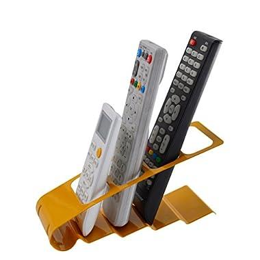 Bestwoohome Metal Storage Organizer Rack for TV Remote Control /CD/DVD/Desktop Supplies (Yellow)