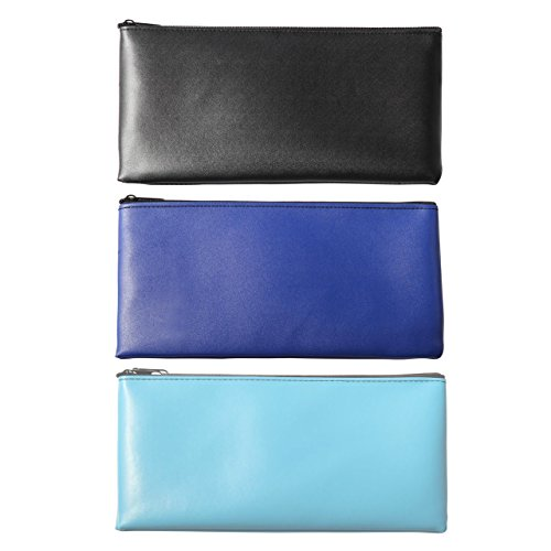 Bank Deposit Bag - LUNASMILE 3 Pack Leatherette Securit Bank Deposit Bag, Check Wallet,Utility Zipper Coin Bag, Cash Bag, Check Bag,11 x 6 Inches with Upgraded Zipper