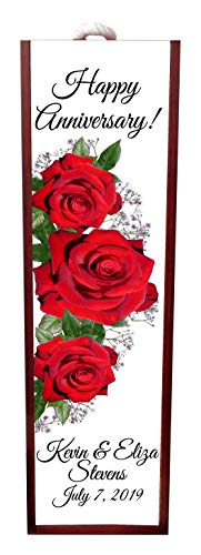 Jacks Outlet Happy Anniversary Red Roses Wine Box Personalized - Wine Box Rosewood with Slide Top - Wine Box Holder - Wine Case Decoration - Wine Case Wood - Wine Box Carrier ()