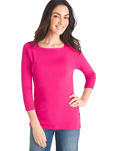 Chico's Women's Supima Cotton Side-Button Bateau-Neck Top Size 20/22 XXL (4) Pink -