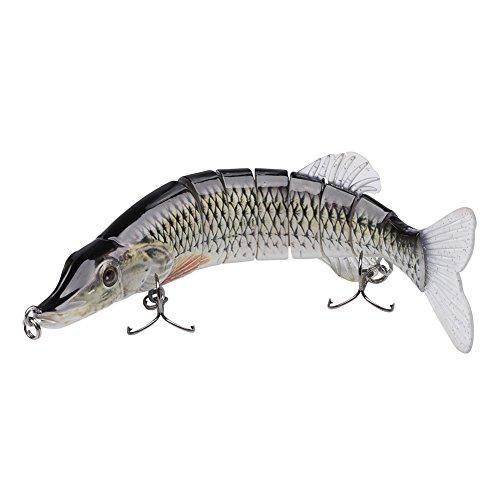 "Bassdash Multi Jointed Swimbaits Bass Fishing Lure Hard Body Soft Fins 8"" 2-1/2oz, 4 Colors ()"