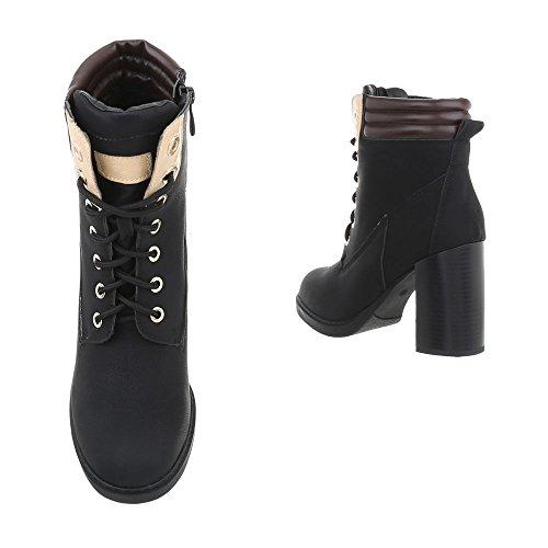 Damenschuhe Ns05 Schwarz Pump Schnürstiefeletten Design Reißverschluss Schnürer Schnürstiefeletten Ital Stiefeletten a6gRxPzw6