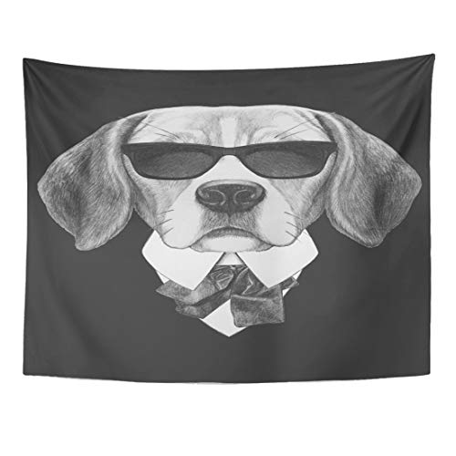 x 50 Inches Collar Portrait of Beagle in Suit Hand Drawn Dog Pet Vintage Animal Baby Wall Hanging Home Decor Tapestries Bedroom Dorm Living Room ()