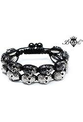 Two Skully Shamballa Bracelet | Hip Hop Jewelry | Disco Ball Bracelet | Cubic Zirconium (by BAGATI CRYSTO)