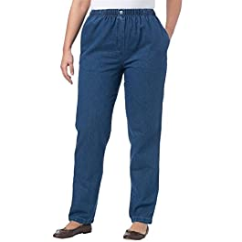 Woman Within Women's Plus Size Petite Elastic-Waist Cotton Straight Leg Pant