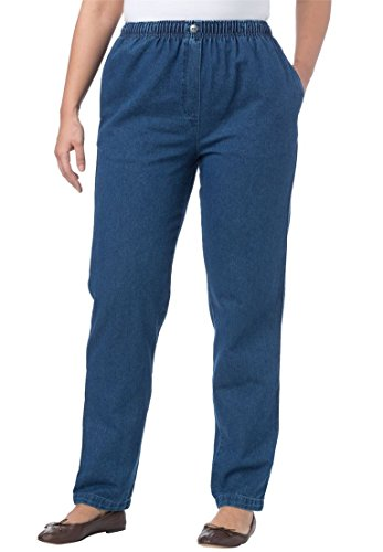Woman Within Plus Size Cotton Straight Leg Mockfly Jean