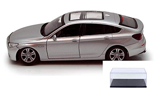 Diecast Car & Display Case Package - BMW 5 Series GT, Silver - Motormax 73352SV - 1/24 Scale Diecast Model Toy Car w/Display Case ()
