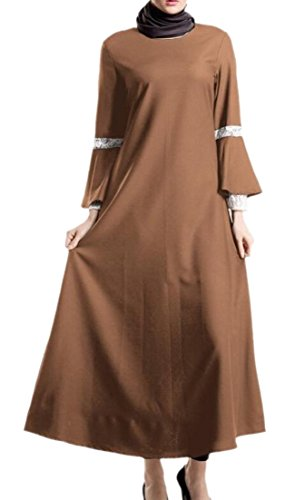 Ainr Femmes Malaisie Une Bordure En Dentelle Ligne Abaya Grandes Robes Musulmanes Swing Brun