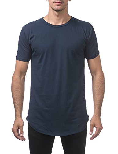 Pro Club Men's Longline Curved Hem Short Sleeve T-Shirt, Navy, X-Large (Best Way To Drop 10 Pounds Fast)