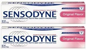 Sensodyne Toothpaste for Sensitive Teeth and Cavity Prevention, Maximum Strength, Original Flavor, 4-Ounce Tubes by Sensodyne