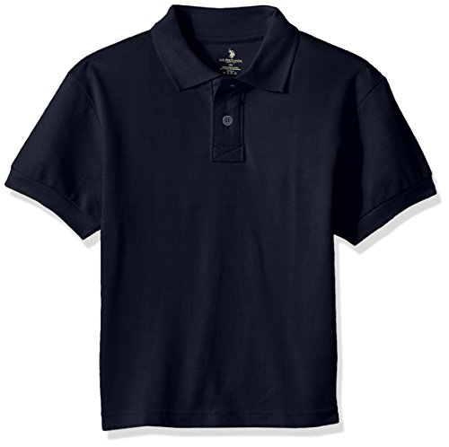 (U.S. Polo Assn. Husky Boys' Polo Shirt (More Styles Available), Pique Navy-FFAG, 20H)